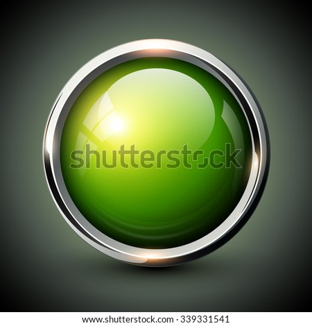 Green shiny button with metallic elements, vector glossy design for website. - stock vector