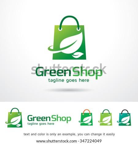Green Shop Logo Template Design Vector - stock vector