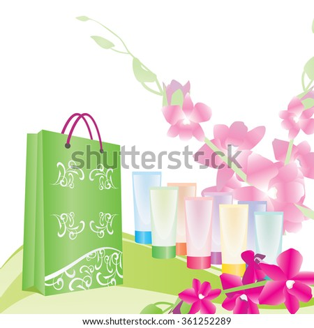 green shopping bag and color tubes - stock vector