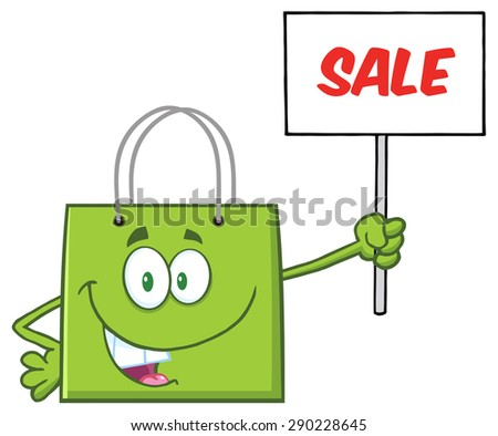 Green Shopping Bag Cartoon Character Holding Up A Blank Sign With Text. Vector Illustration Isolated On White - stock vector