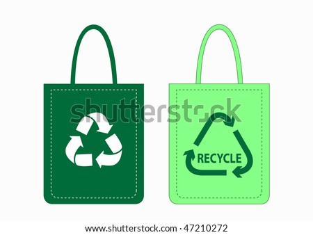 Green shopping bags with recycle symbols, vector illustration - stock vector