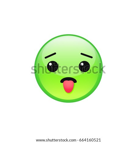 Green sick nauseated emoji face vector icon isolated on white background