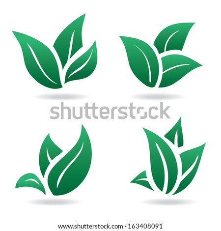 Green sign, eco leaves. natural product - stock vector