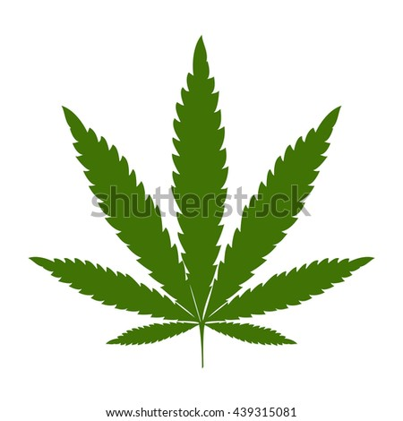 Green silhouette of a marijuana leaf - stock vector