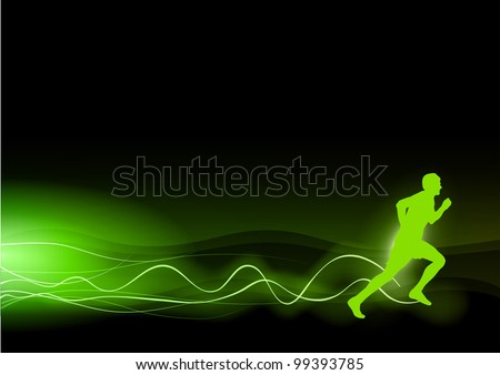 green silhouette of runner with the green rays - stock vector