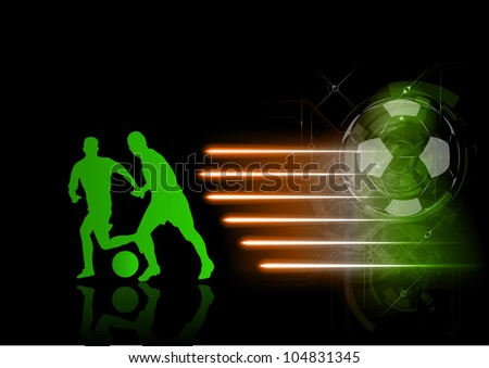 green silhouette of soccer players