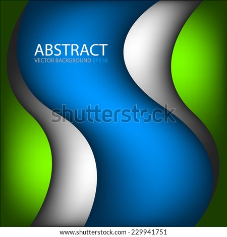 green silver curve line abstract background on blue space gradient color tone paper overlap layer for text and message design - stock vector
