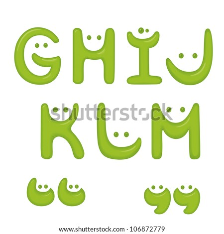 Green Smile alphabet. Letters G, H, I, J, K, L, M and quotes. - stock vector