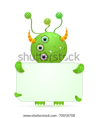 green smiley monster with empty placard. vector illustration isolated on white background - stock vector