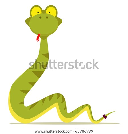 green snake cartoon with red tongue