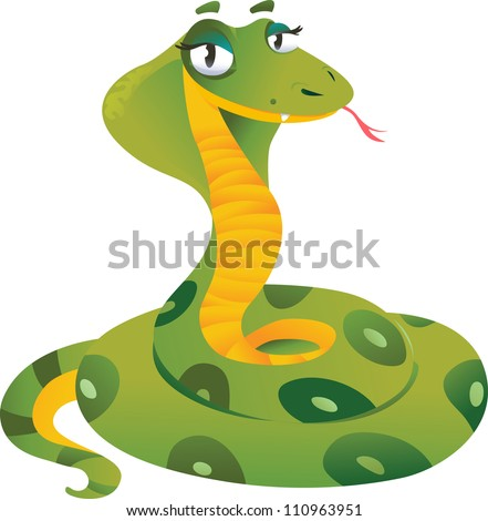 Green snake on a white background - stock vector