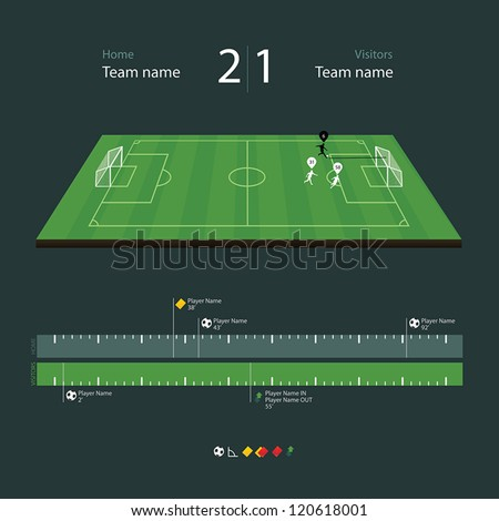 Green soccer field with set of infographic elements - stock vector