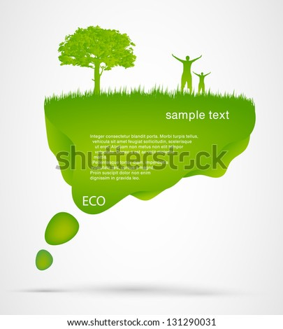 Green Speech Bubble with man - stock vector