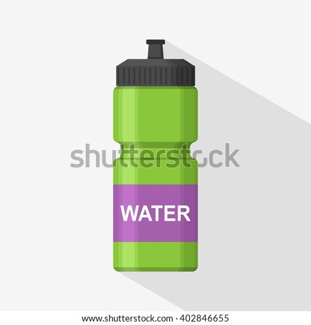 Green Sport bottle icon for water icon in flat style isolated on gray background with shadow. Sipper vector - stock vector