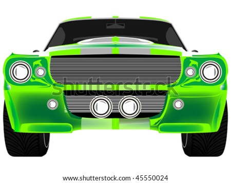 green sport car front isolated on white, abstract art illustration - stock vector