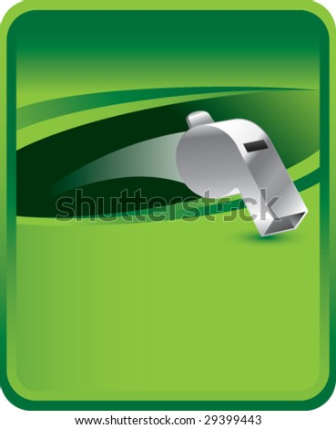 green sports message board with whistle - stock vector