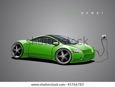 Green sportscar, illustration on grew background, vector illustration, original design - stock vector