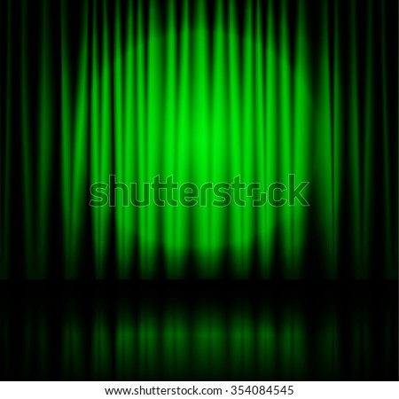 Green spotlight on stage theater curtain with reflection on floor. Vector illustration - stock vector