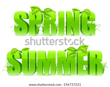 Green Spring and Summer words, with fresh leaves and grass.