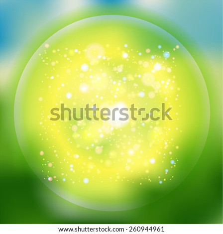 Green Spring Background of Blurred Lights with Bokeh Effect . Vector Illustration .