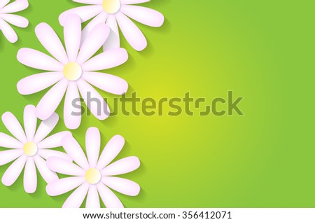 Green spring background with abstract pink flowers and place for your text - vector illustration - stock vector