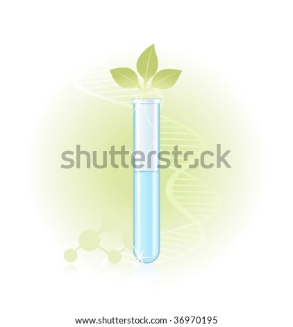 Green sprout against with DNA structure - stock vector