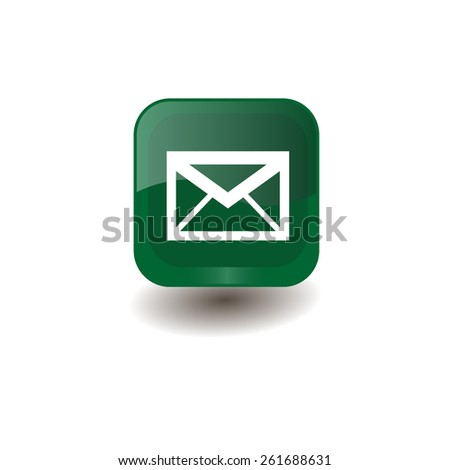 Green square button with white envelope sign, vector design for website  - stock vector
