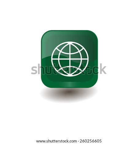 Green square button with white globe sign, vector design for website  - stock vector