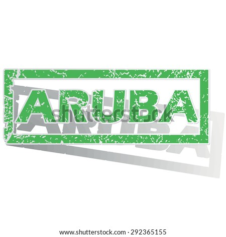 Green stamp with name Aruba and shadow, isolated on white - stock vector