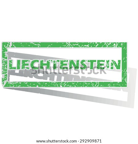 Green stamp with name Liechtenstein and shadow, isolated on white