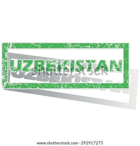 Green stamp with name Uzbekistan and shadow, isolated on white
