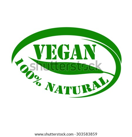 Green stamp with text Vegan-100% Natural,vector illustration - stock vector