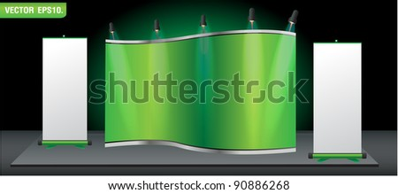 Green stand for your ad and Roll up banner. Vector template background - stock vector