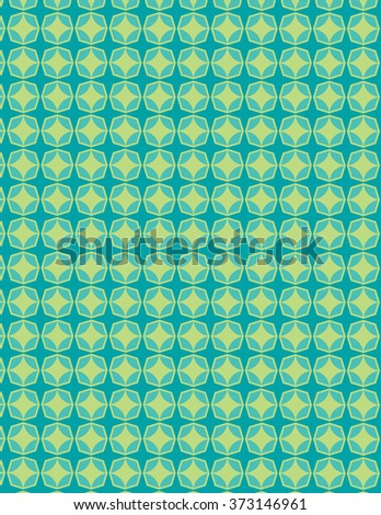 Green star pattern over blue green background - stock vector
