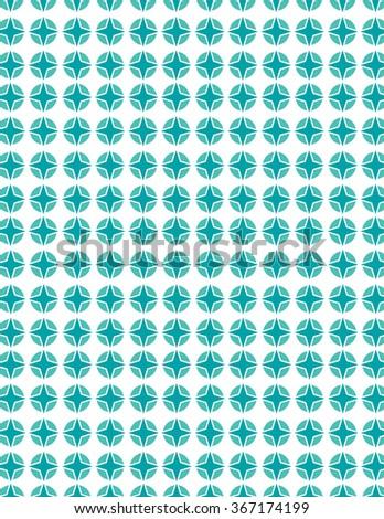 Green star pattern over white background - stock vector