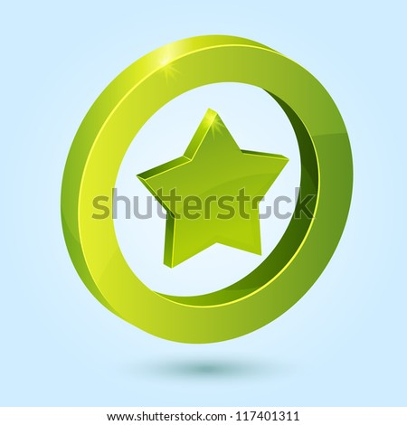 Green star symbol isolated on blue background. This vector icon is fully editable. - stock vector