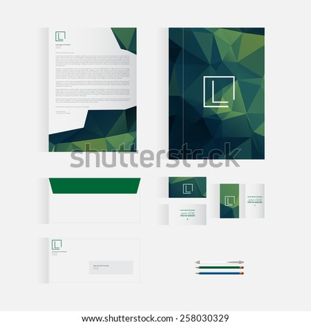 Green Stationery Template Design for Your Business | Modern Vector Design - stock vector