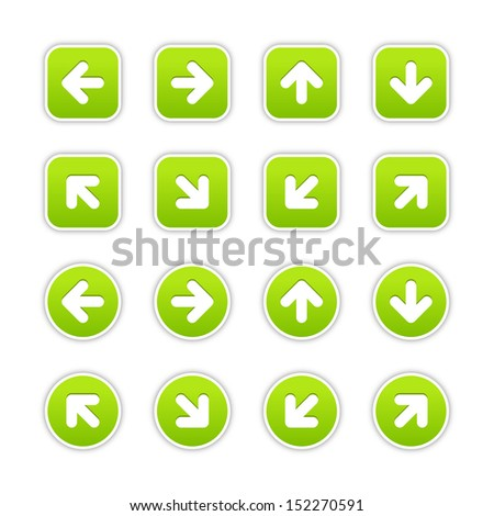 Green sticker icon with arrow sign. Rounded square and circle buttons with gray shadow on white background. Vector illustration design element save in 10 eps - stock vector