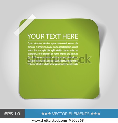 green sticker. text tag - stock vector