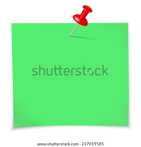 Green sticky notes and pin. A vector illustration. - stock vector