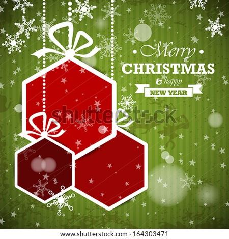 green striped retro christmas card with red hexagonal balls. christmas concept - stock vector