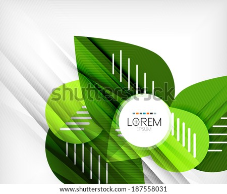 Green stylized geometrical leaves concept design - stock vector