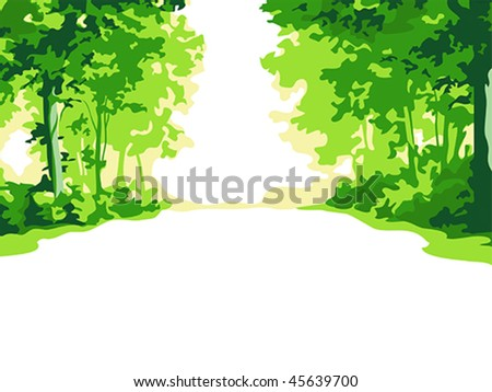 Green summer forest background - stock vector
