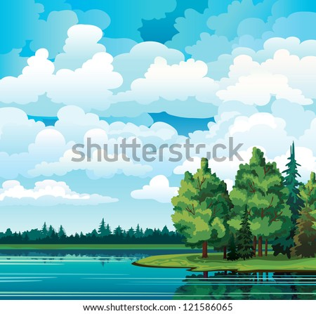 Green summer landscape with trees near the lake, forest and group of cumulus clouds on a blue sky - stock vector