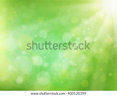 Green Sunburst abstract Background. Green rays of light. Vector bokeh blurred background. - stock vector