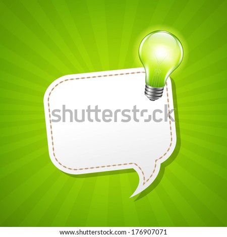 Green Sunburst Poster And Speech Bubble And Lamp, With Gradient Mesh, Vector Illustration - stock vector