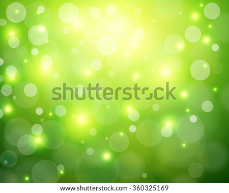 Green sunny background, glittering defocused bokeh, vector illustration. - stock vector