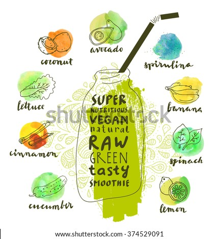 Green superfoods smoothie poster. Nutritious organic food labels set. Vector fresh healthy food icons. Vintage badges for restaurant menu or food package. Leaflet design - stock vector
