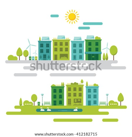 Green sustainable community concept flat vector illustration - stock vector
