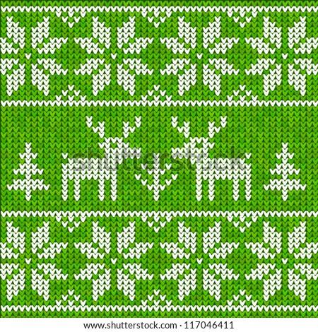 Green sweater with deer - stock vector